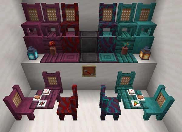 Imagen donde podemos ver todos los elementos decorativos que nos ofrecerá el mod TableChair 1.16.4 y 1.16.5.