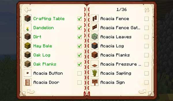 Imagen donde podemos ver el libro que muestra los bloques y objetos que ya hemos conseguido con el mod Traveler's Index 1.16.4.