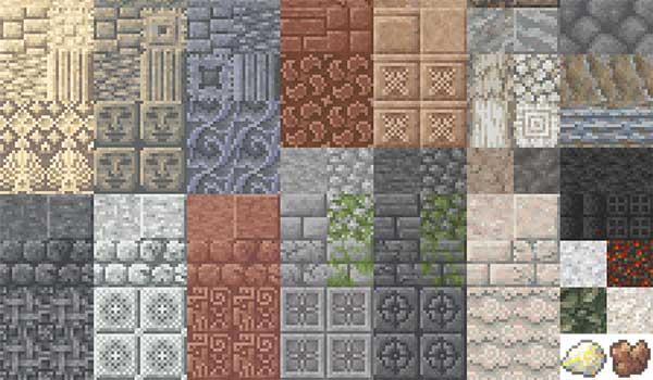 Imagen donde podemos ver una exposición de los nuevos tipos de bloques de construcción, de roca, que generará el mod Unearthed 1.16.2, 1.16.3, 1.16.4 y 1.16.5.