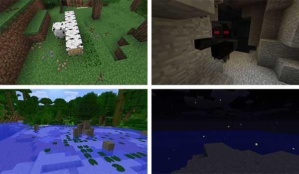 Imagen donde podemos ver algunos elementos, e incluso el fantasma, que añade el mod Vibrant Journeys Mod 1.16.5.