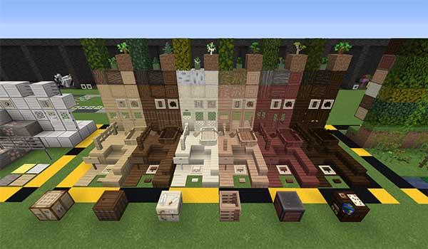 Imagen donde podemos ver una exposición de bloques de madera, decorados con las texturas XeKr Light Color 1.16, 1.15 y 1.13.