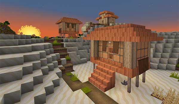 Imagen donde podemos ver un pequeño poblado decorado por Dragon Dance Texture Pack 1.16, 1.14 y 1.12.