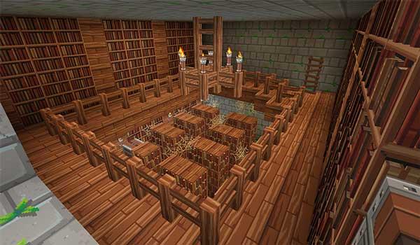 Imagen donde podemos ver el aspecto de una librería abandonada, utilizando las texturas de Dragon Dance 1.16, 1.15 y 1.12.