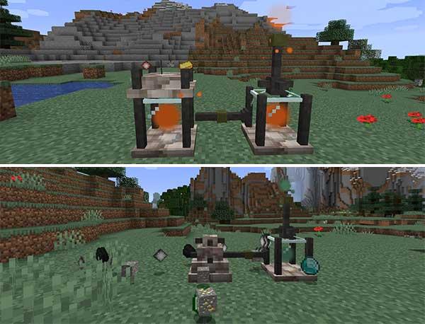 Imagen compuesta donde podemos ver cómo funciona el Binder y el Ore Shrine que añade el mod Elemental Craft 1.16.3, 1.16.4 y 1.16.5.