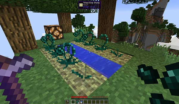 Imagen donde podemos ver una plantación de perlas de Ender, gracias al mod Ender Crop 1.16.5.
