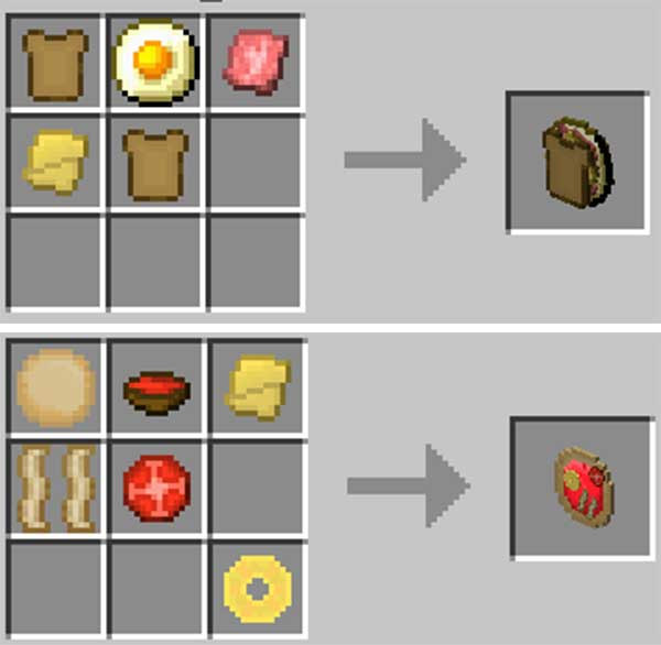 Imagen donde podemos ver algunas de las nuevas recetas de comida que podemos hacer con el mod Ham N 'Cheese 1.16.5.