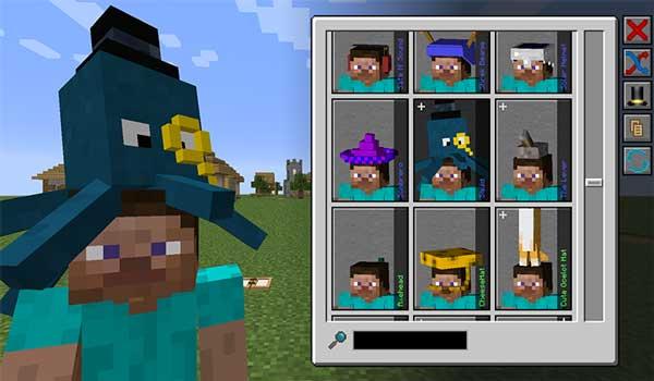 Imagen donde podemos ver cómo funciona el sistema de sombreros que nos ofrece el mod Hats 1.16.3, 1.16.4 y 1.16.5.