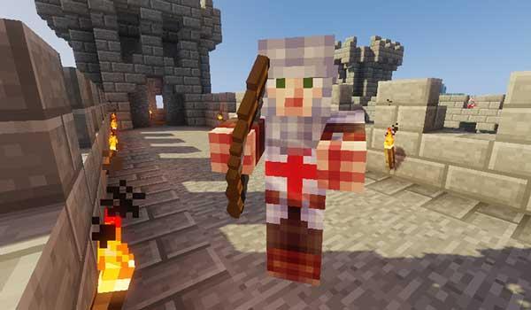 Imagen donde podemos ver una de las criaturas que añade el mod Medieval Craft 1.16.5, en este caso un arquero.