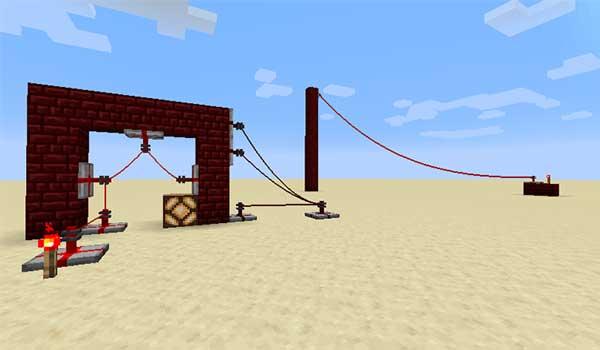 Imagen donde podemos ver un sistema de cable Redstone creado con los mod More Red 1.16.3, 1.16.4 y 1.16.5.