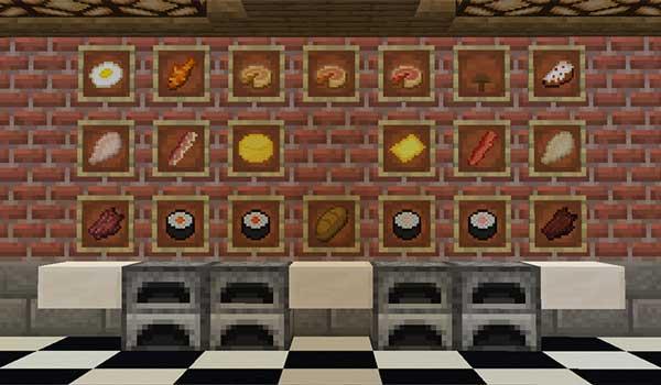 Imagen donde podemos ver algunos alimentos y recetas de comida que podemos disfrutar con el mod Not Just Sandwich 1.16.4 y 1.16.5.