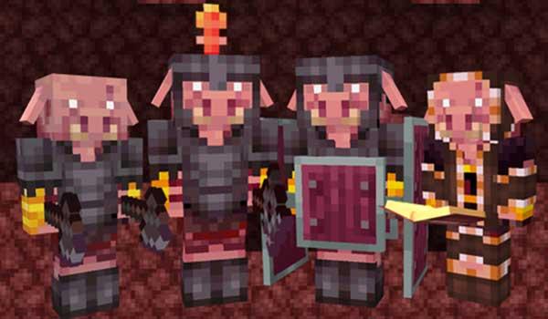 Imagen donde podemos ver a los Pigmen Legion que añade el mod Pyromancer 1.16.5.