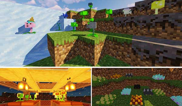 Imagen compuesta donde podemos ver algunos de los diferentes tipos de plantas que podemos utilizar con las Plantas Vs. de Scooty.  Zombies 1.16.5 mod.