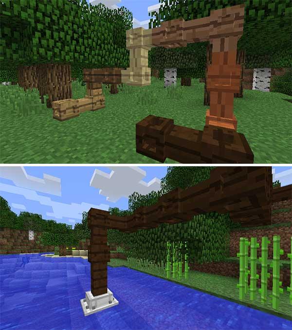 Imagen compuesta donde podemos ver dos ejemplos de utilización de las tuberías de madera que añade el mod Simple Wooden Pipes 1.16.2, 1.16.3, 1.16.4 y 1.16.5.