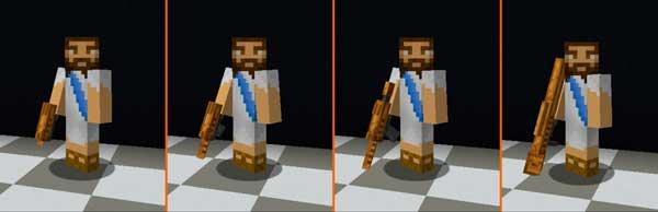 Imagen donde podemos ver un jugador mostrando todas las armas que nos ofrece el mod Spooky Arms 1.16.3, 1.16.4 y 1.16.5.