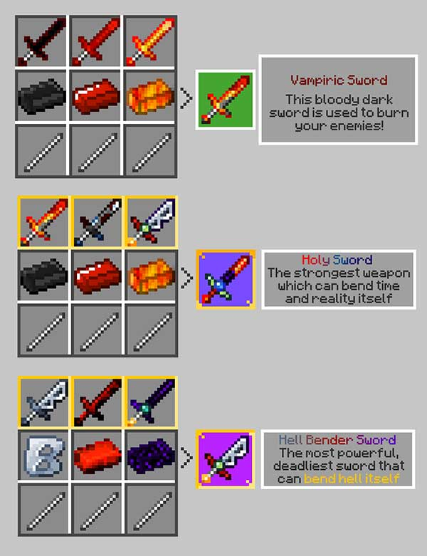 Imagen compuesta donde podemos ver cómo se fabrican tres de las diversas espadas que nos permitirá fabricar el mod Swords 1.16.3, 1.16.4 y 1.16.5.