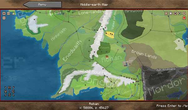 Imagen donde podemos ver el mapa del mundo de la recreación de la Tierra Media que nos ofrece el mod The Lord of the Rings 1.16.5.