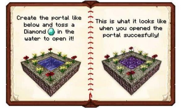 Imagen donde podemos ver cómo se construye y activa el portal dimensional del mod The Twilight Forest 1.16.5.