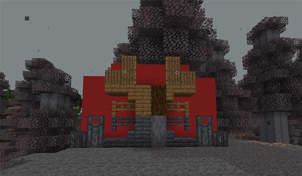 Imagen donde podemos ver los nuevos bloques y elementos de madera que encontraremos en el bioma del Bosque carbonizado añadidos por el mod Twist 1.16.5.