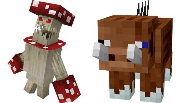 Imagen donde podemos ver un ejemplo de dos de las criaturas que encontraremos en la nueva dimensión que añade el mod Villagers And Monsters 1.16.4 y 1.16.5.