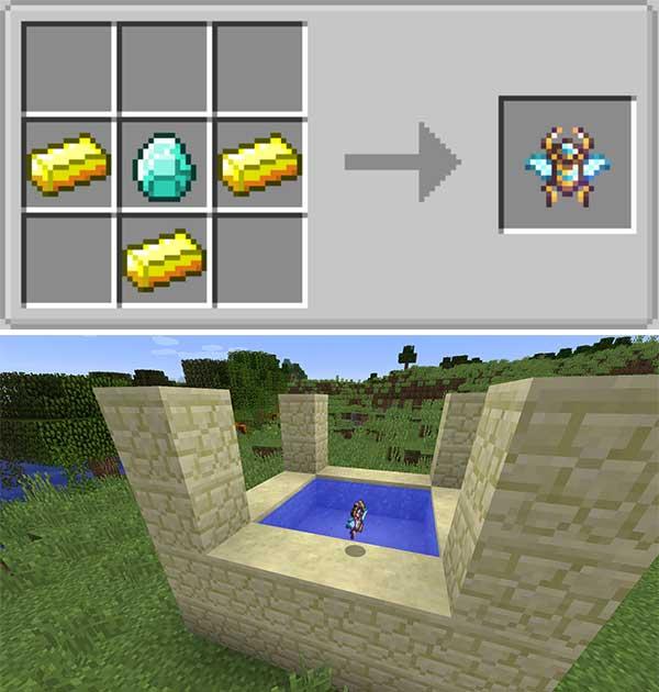 Imagen donde podemos ver cómo se fabricar el portal para acceder a la nueva dimensión que añade el mod Atum 2: Return to the Sands 1.16.5.