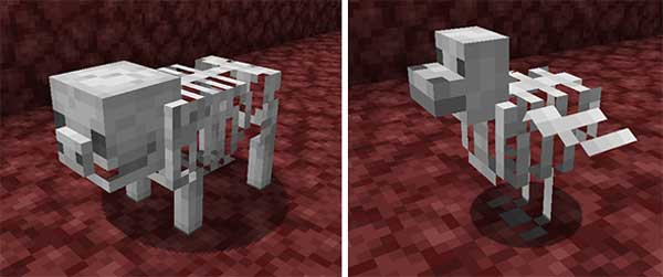 Imagen compuesta donde podemos ver el pollo esqueleto y el cerdo esqueleto que añade el mod Bones 1.16.1, 1.16.3, 1.16.4 y 1.16.5.