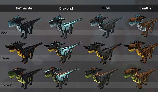 Imagen donde podemos ver algunos tipos de dragones, y sus armaduras, en los que nos podremos convertir gracias al mod Dragons Survival 1.16.5.