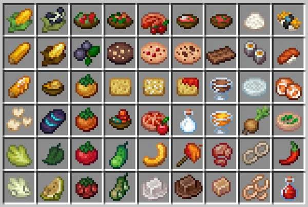 Imagen donde podemos ver una exposición de todos y cada uno de los nuevos alimentos que ofrece el Fluffy Farming 1.16.4 y 1.16.5 mod.