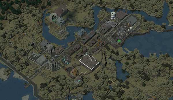 Imagen aérea donde podemos ver un pequeño poblado, decorado con las texturas postapocalípticas que nos ofrece Last Days Texture Pack 1.16 y 1.12.