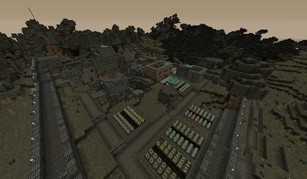 Imagen donde podemos ver una aldea rodeada por muros de piedra. Todo ello decorado con las texturas Last Days 1.16 y 1.12.