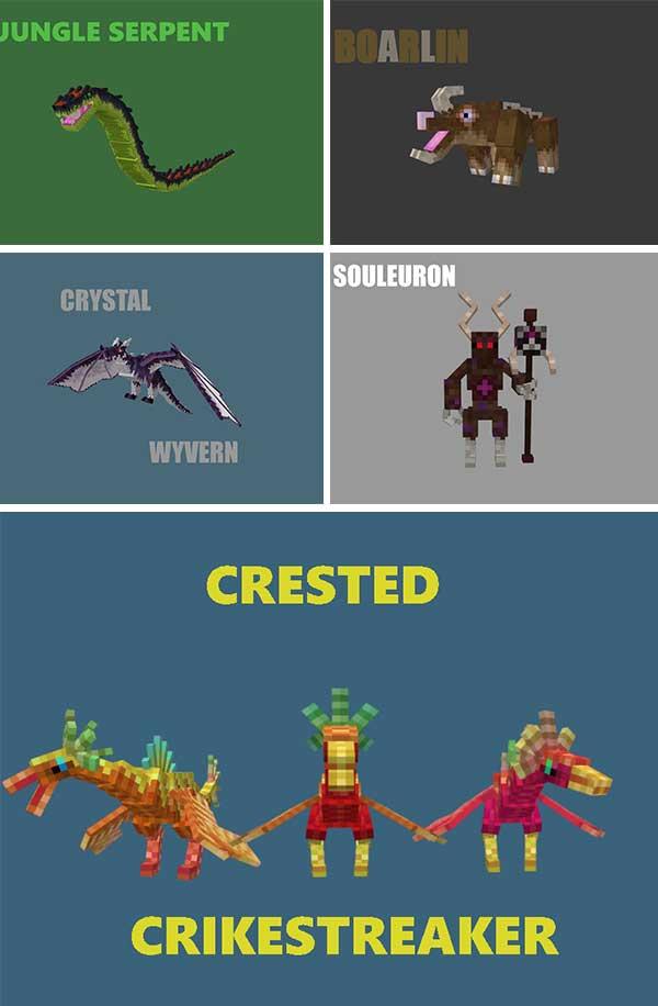 Imagen compuesta donde podemos ver algunas de las nuevas criaturas que añade el mod Lee's Creatures 1.16.5.