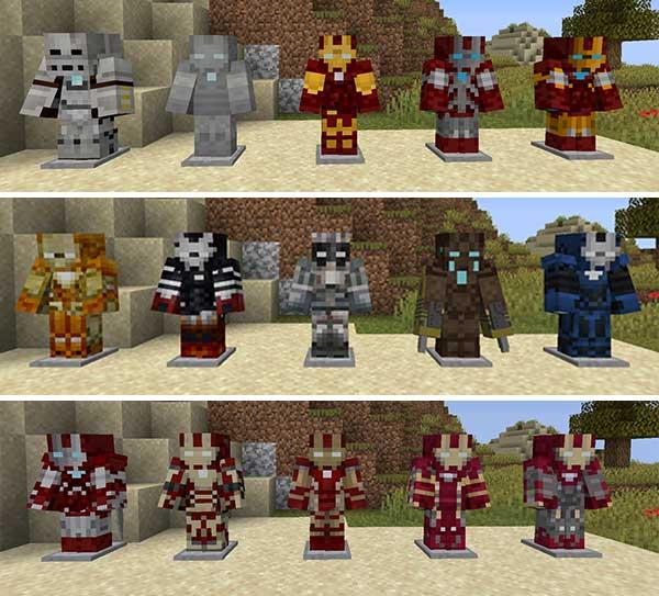 Imagen compuesta donde podemos ver todas las versiones de Iron Man que podremos crear con el mod Marvel Superheroes 1.16.5.