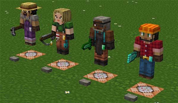 Imagen donde podemos ver cuatro aldeanos con apariencias aleatorias, generadas por las texturas Player Villager Models 1.16, 1.15 y 1.12.