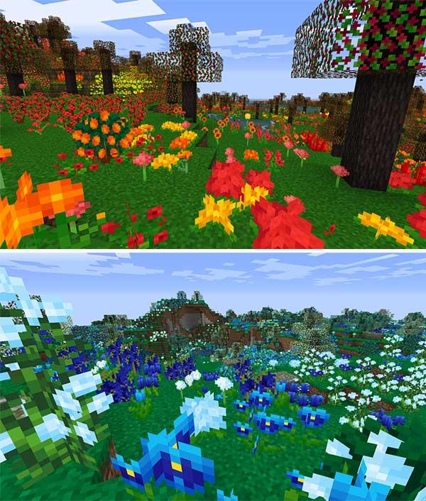 Imagen donde podemos ver un ejemplo de la generación de plantas de colores variados que añade el mod Pollinate 1.16.3, 1.16.4 y 1.16.5.