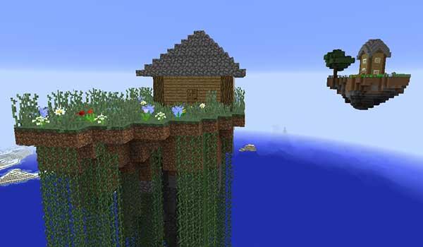 Imagen donde podemos ver dos ejemplos de islas flotantes con estructuras, generadas por el mod Soaring Structures 1.16.5.