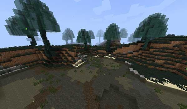 Imagen donde podemos ver uno de los nuevos biomas que añade el mod Spheric 1.16.