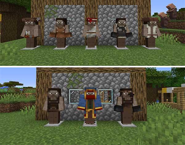 Imagen compuesta donde podemos ver algunos de los disfraces de aldeanos que podemos conseguir con el mod Village Employment 1.16.5.