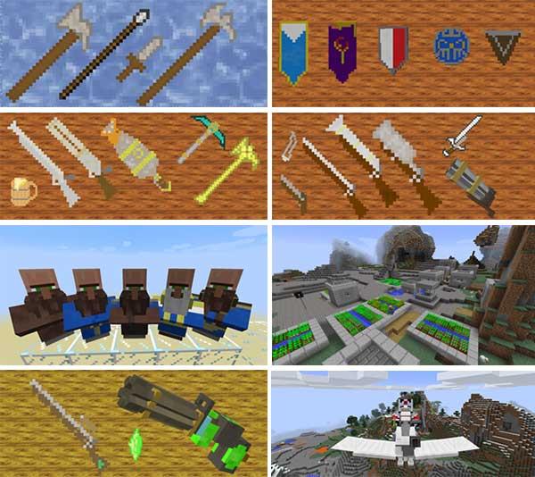 Imagen compuesta donde podemos ver una exposición de objetos y elementos diversos generados por el mod Warhammer Universe 1.16.5.