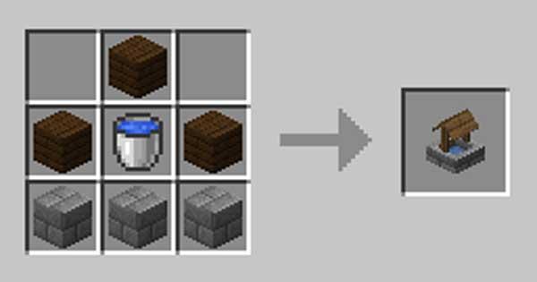 Imagen donde podemos ver cómo se fabrica el pozo que ofrece el mod Wishing for Sunshine 1.16.4 y 1.16.5.