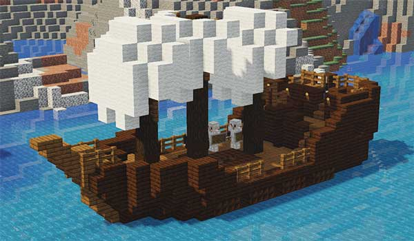 Imagen donde podemos ver uno de los barcos, con enemigos, que se generará con el mod Adventures Structures 1.16.5 instalado.