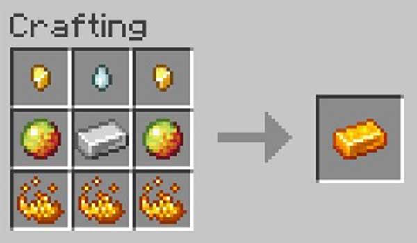 Imagen donde podemos ver cómo se fabrica el lingote de Brimsteel que nos permitirá fabricar las armas, herramientas y armaduras añadidas por el mod Blaze Gear 1.16.3, 1.16.4 y 1.16.5.
