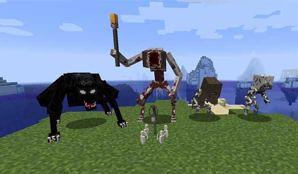 Imagen donde podemos ver algunas de las criaturas hostiles que encontraremos al instalar el mod Blood and Madness 1.16.5.