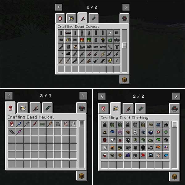 Imagen donde podemos ver una exposición de todos los objetos de combate, ropa y medicinas añadidos por Crafting Dead 1.16.4 y 1.16.5 mod.