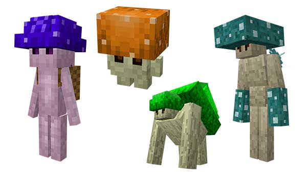 Imagen donde podemos ver algunas de las nuevas criaturas que añade el mod Leos Mushrooms 1.16.4 y 1.16.5.
