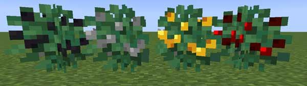 Imagen donde podemos ver los arbustos minerales que añade el mod Metal Bushes 1.16.1, 1.16.3, 1.16.4 y 1.16.5.