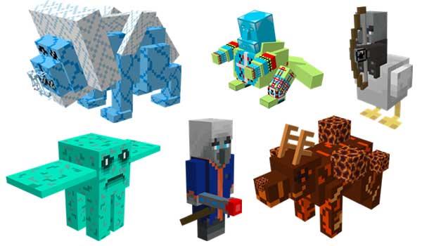 Imagen donde podemos ver algunas de las nuevas criaturas que podremos generar con el mod Paboladi's Mobs 1.16.4 y 1.16.5.