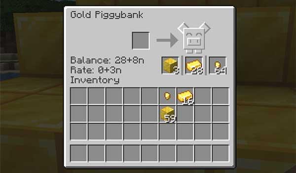 Imagen donde podemos ver la interfaz del inventario de las alcancías que agrega el mod Piggy Banks 1.16.4 y 1.16.5.