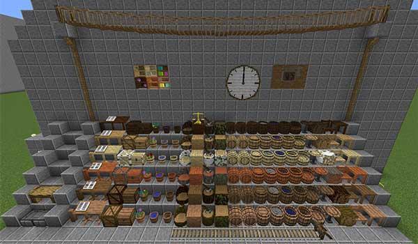 Imagen donde podemos ver una exposición de todos los bloques y objetos decorativos que nos ofrecerá el mod Project Brazier 1.16.5.