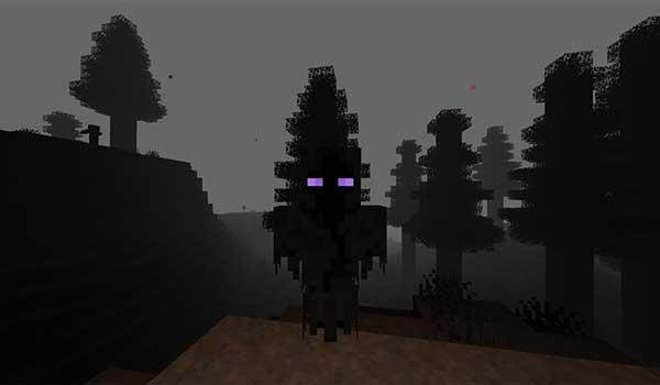 Imagen donde podemos ver una de las espeluznantes criaturas que encontraremos en la dimensión que añade el mod The Cursed Realm 1.16.4 y 1.16.5.