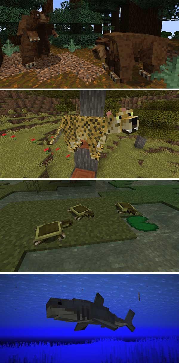 Imagen donde podemos ver algunos de los nuevos animales que nos ofrecerá el mod Untamed Wilds 1.16.3, 1.16.4 y 1.16.5.