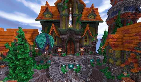 Imagen donde podemos ver un castillo decorado con las texturas que nos ofrece el paquete de texturas Aluzion Classic 1.16 y 1.8.
